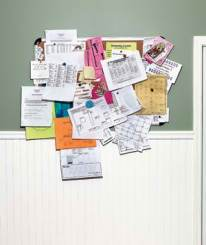 cluttered bulletin board